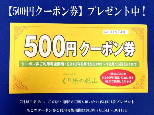 2013年夏 500円クーポン